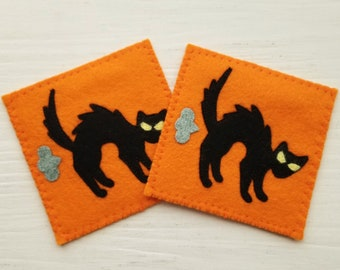 Spooky Halloween Farting Cat Coasters - Set of 2 Funny Coasters Featuring Spooky Black Cats on Orange Backgrounds