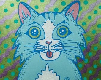 "Original, Cute, Mischievous Kitten Gel Pen Illustration - Hand Drawn on Blue Cardstock 4.75"" x 6.25"""