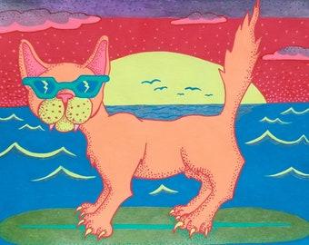 Super Cool Surfing Cat with Sunglasses Original Drawing - Original Hand Drawn Gel Pen Artwork
