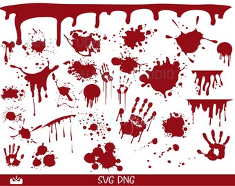Blood Splash SVG, Blood Splash  Bundle , Dripping blood , bloody hand Svg File For Cricut ,silhouette, horror svg cut file, Instant download