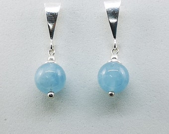 Aquamarine earrings, 925 silver earrings, sterling silver, natural stone, aquamarine, 26 mm