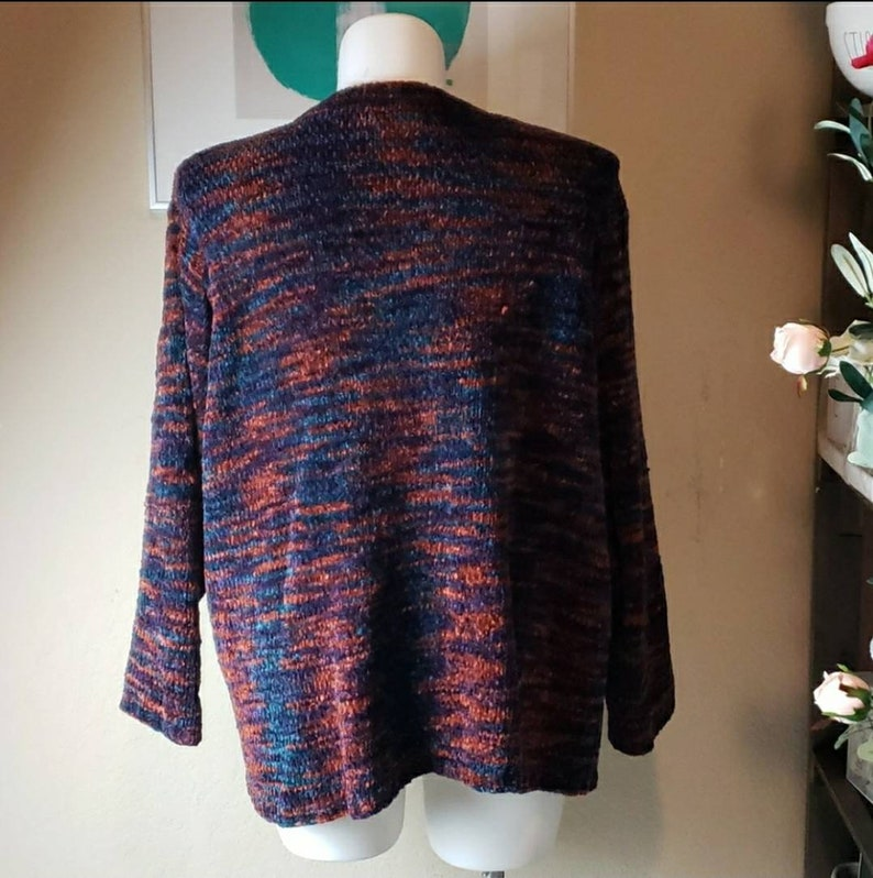 Vintage 1980s Extra Point by Reference Point 3X Vneck Knit Sweater Multicolored