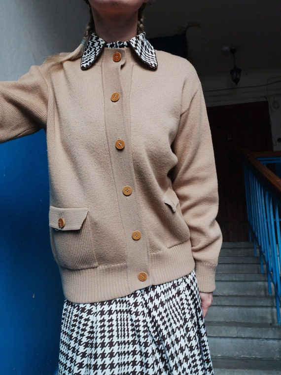 Leather buttons Unisex vintage cardigan