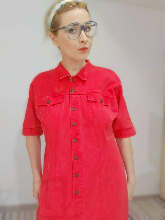 80s red denim dress