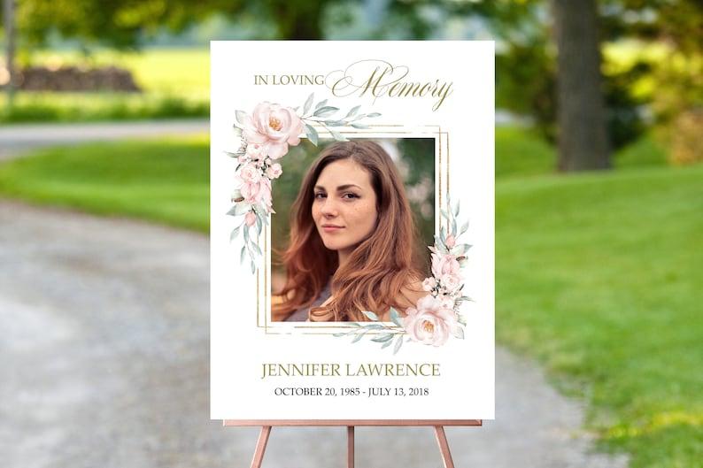 editable memorial service sign F109 funeral welcome sign floral pink funeral welcome sign digital download
