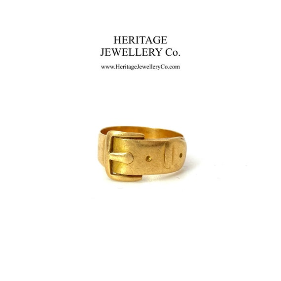 Antique Victorian Gold Buckle Ring (18ct gold; c.1