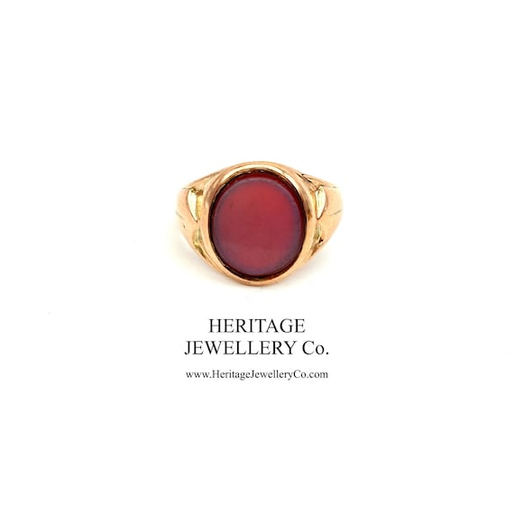Vintage Gold and Bloodstone Signet Ring (9ct Gold)