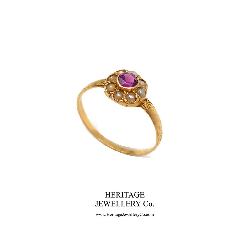 Antique Amethyst and Pearl Ring 9ct gold
