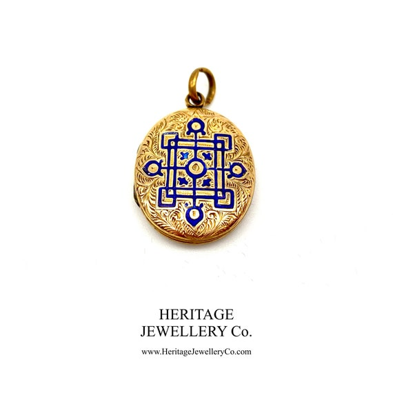 Antique Gold and Enamel Locket (9ct gold)