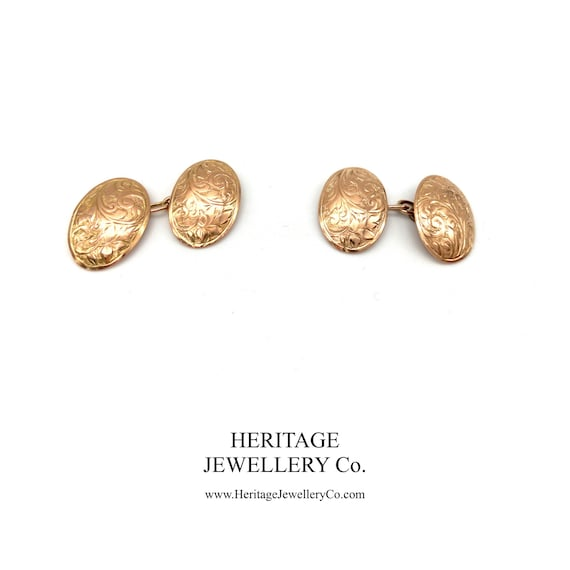 Antique Gold Cufflinks with Antique Box (9ct gold)