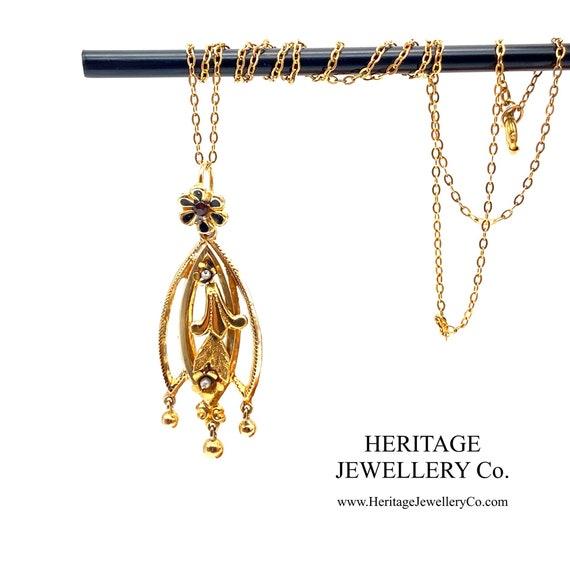 Antique Gold, Enamel, Pearl & Garnet Pendant (9ct)