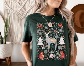 Scandinavian Christmas Shirt Folk Art T-Shirt Botanical Shirt Hygge TShirt Aesthetic Clothes Scandinavian Shirt Women Vintage Flower Shirt
