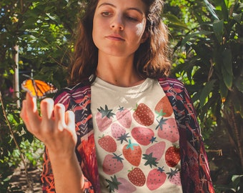 Strawberry Shirt Strawberry Clothes Strawberry Top Garden Shirt Aesthetic Clothing Cottage core Clothes Botanical Shirt Strawberry Print