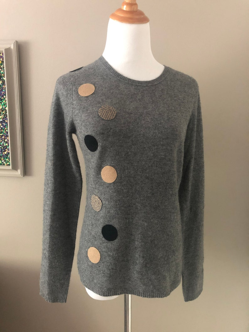 Cashmere Sweater Holes Patch Repair Stripes Cover Stain or Customize Sweater w 100/% Cashmere Circle Dot Patches; Eco-Friendly