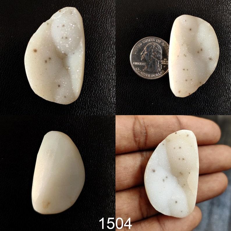 White Druzy Gemstone White Agate Druzy Cabochon Natural Agate Druzy Stone Flat-back Agate Druzy For Pendant Wire-Wrap Ring Jewelry Stone