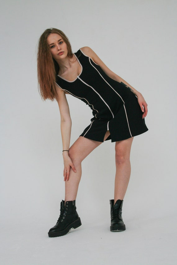 Tennis black dress Mini sport dress Vintage dress