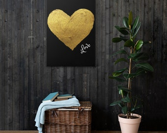 Black And Gold Love Heart Canvas