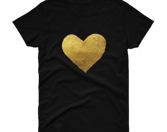 Women's Love Heart Gold T Shirt