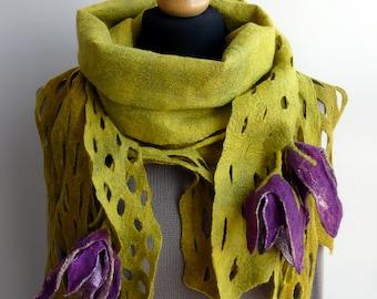 Felt Shawl wool and Silk Scarf Felt Wrap Lavender and Pink Shawl Wedding guest. Shoulder Wrap Wool Wrap handmade scarf Felt Scarf