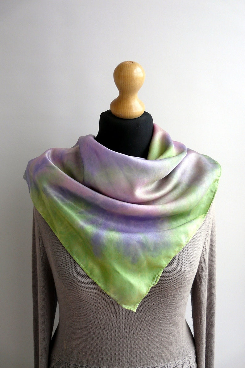 Satin scarf for women Square silk scarf multicolor Mothers day gift from daughter Bandana.