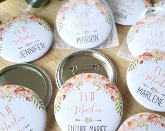EVJF Badge magnet mirror keyring custom stripper / Team bridle bride / Bridal Shower Bachelorette / Gift Witness Gift