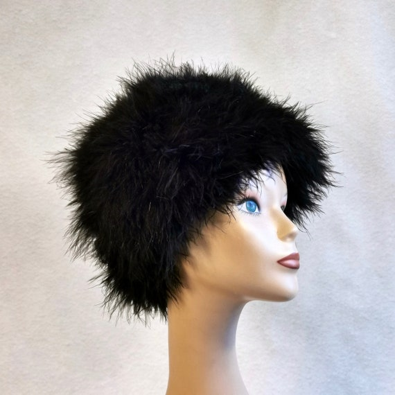 50s Strauss Feather Cloche Hat Art Deco 20s Style