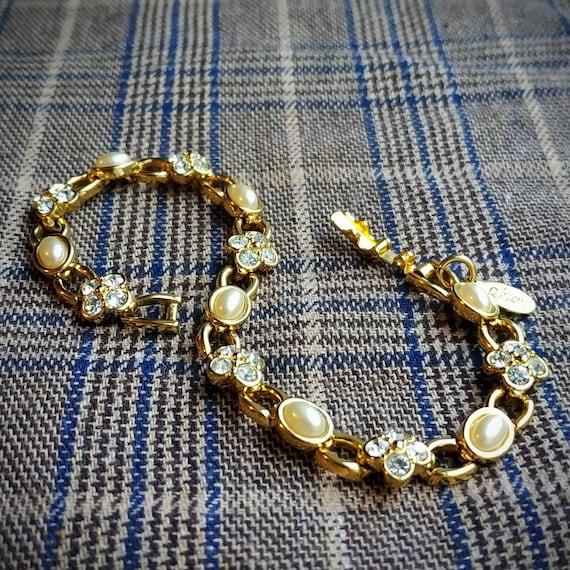 Crystal Flower Pearl Vintage Bracelet by Joan Rive