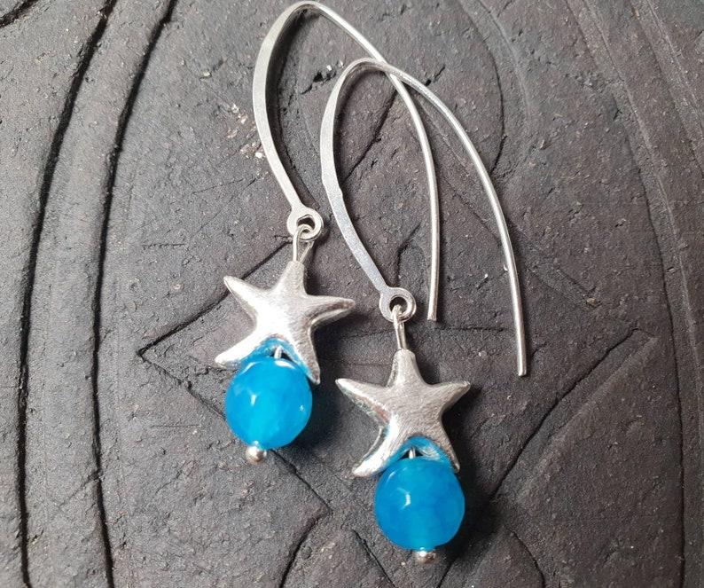 Agate Silver Starfish Earrings* Sea Lust*925 Silver*Large Ear hooks