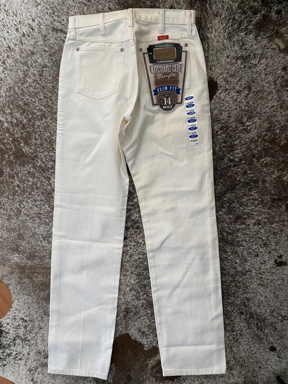 "29"" white wrangler jeans vintage new with tags"