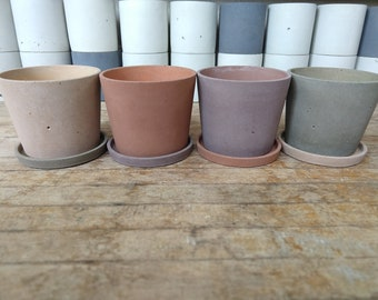 6 Inch Concrete Pot in Weathered Earth Tones