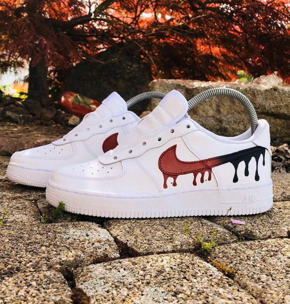 Nike Air Force 1 Drippy Red   Etsy