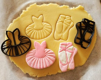 2 Piece Ballet Slipper and Tutu Dress Cookie or Fondant Cutter Set with built-in impressions