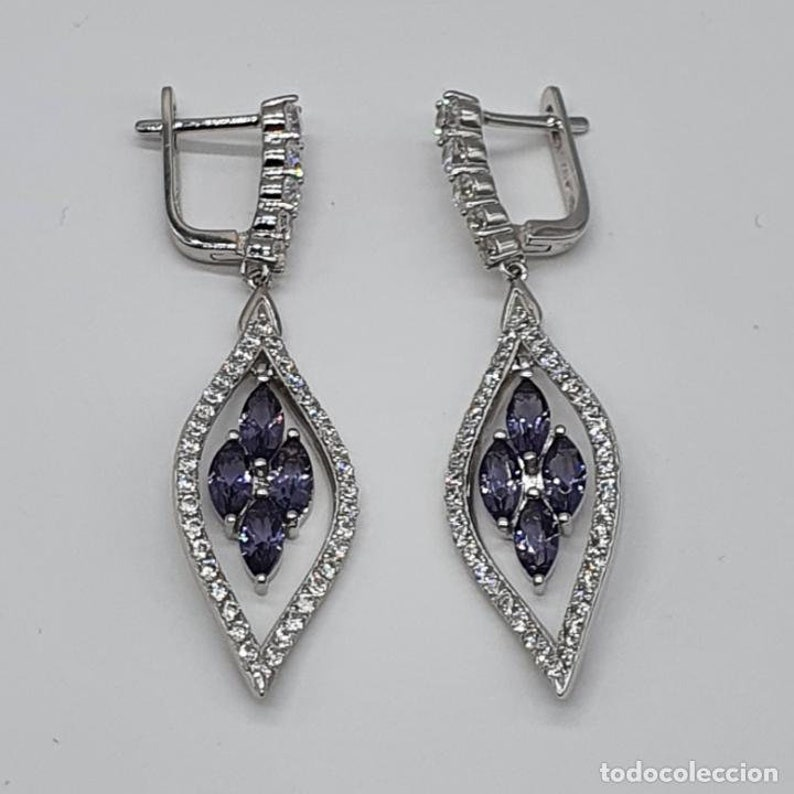 amethysts and 18k white gold bath Art deco earrings in sterling silver zirconia