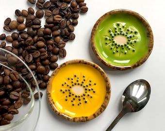 Set of 2 small dishes Kiwi. Handmade ceramic tea accessories. Fruit lover gift. Vegan gift.