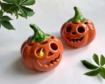 Pumpkin Candle Holder, Handmade Ceramic Tea Light Holder, Halloween Home Decor.