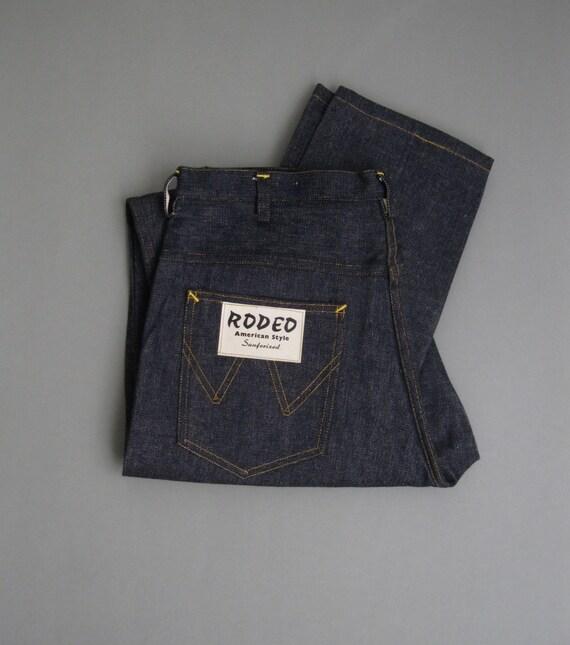Vintage 70s Jeans Raw Denim Dark Blue Color Sanfor