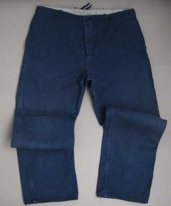Vintage 70s Work Pants 1970s Workwear Blue Cotton