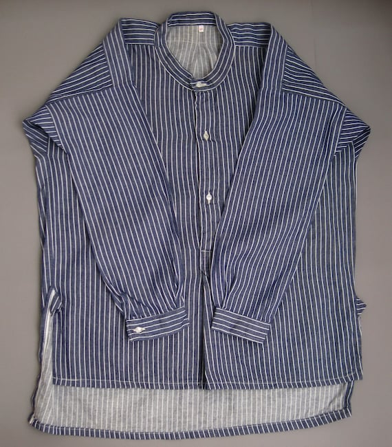 Vintage 70s Work Striped Shirt 1970s Fisherman's S