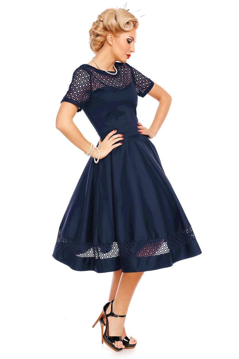 1950s Style Clothing & Fashion Tess Lace Sleeved Dress in Navy Blue $79.69 AT vintagedancer.com