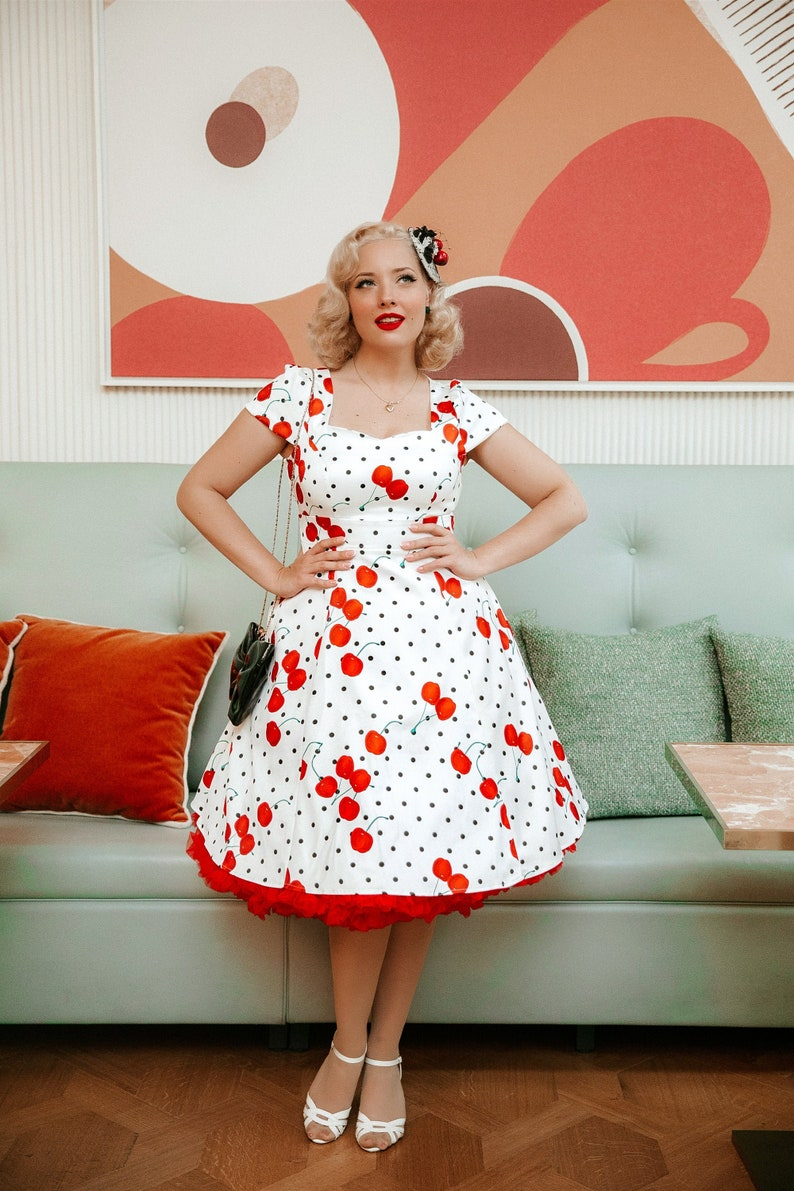 1950s Inspired Fashion: Recreate the Look Claudia 50s Style Cherry & Polka Dot Print Dress $57.67 AT vintagedancer.com