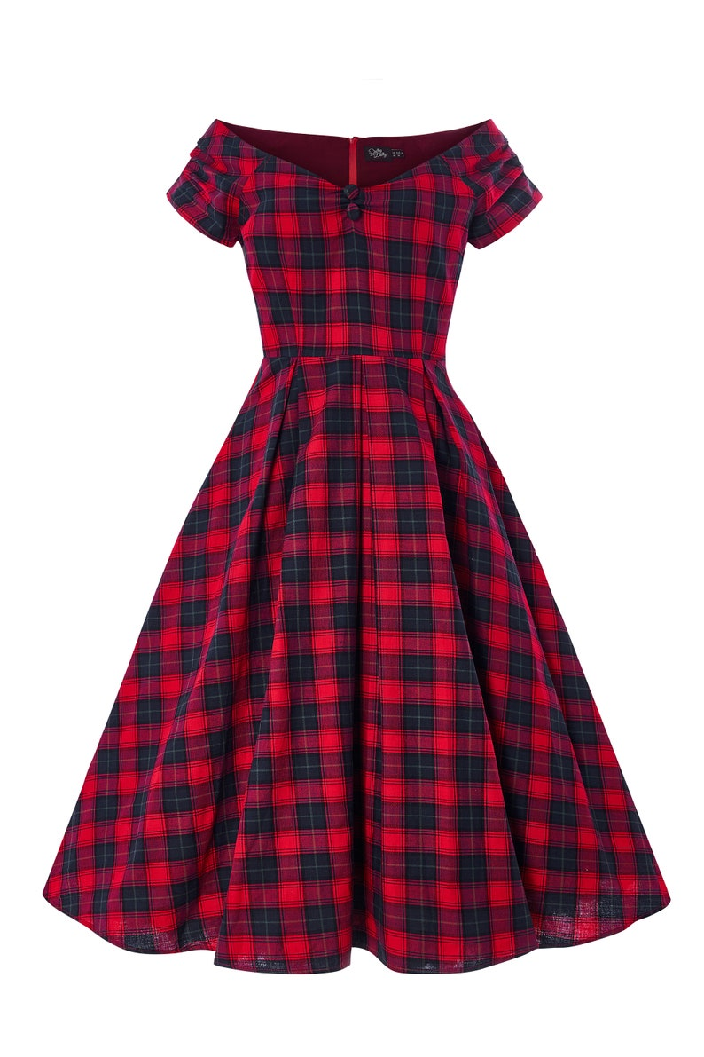 Pin Up Girl Costumes | Pin Up Costumes Lily Off Shoulder Swing Dress in Red Tartan $65.20 AT vintagedancer.com