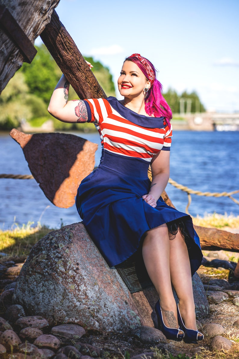 Pin Up Girl Costumes | Pin Up Costumes Darlene Nautical Swing Dress in Navy with Red & White Stripes $57.95 AT vintagedancer.com