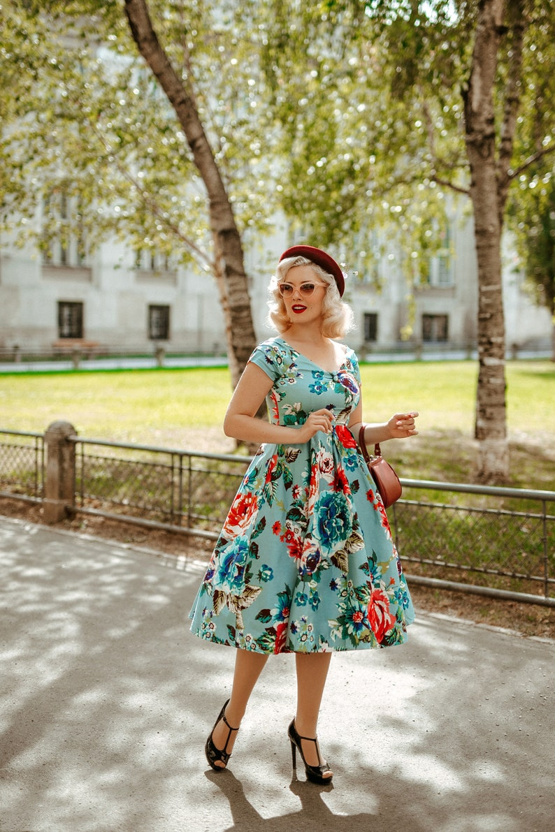 Pin Up Girl Costumes | Pin Up Costumes Blue Summer Floral Off Shoulder Dress $57.95 AT vintagedancer.com
