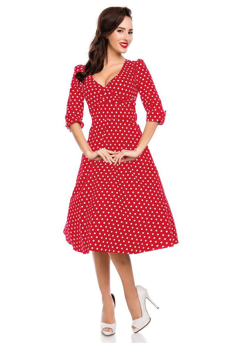 1950s Style Clothing & Fashion Katherine Red Polka Dot Swing Dress $72.09 AT vintagedancer.com