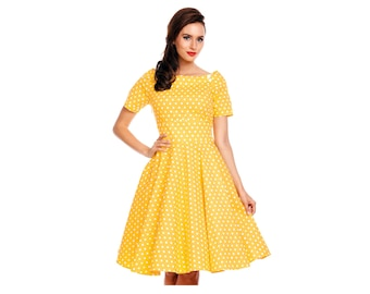Darlene Retro Yellow Polka Dot Swing Dress