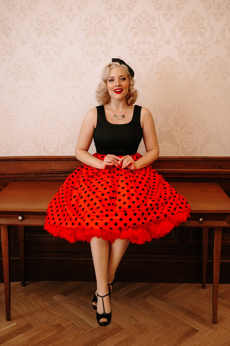 What Did Women Wear in the 1950s? 1950s Fashion Guide Cute Polka Dot Amanda Flared Dress $50.82 AT vintagedancer.com