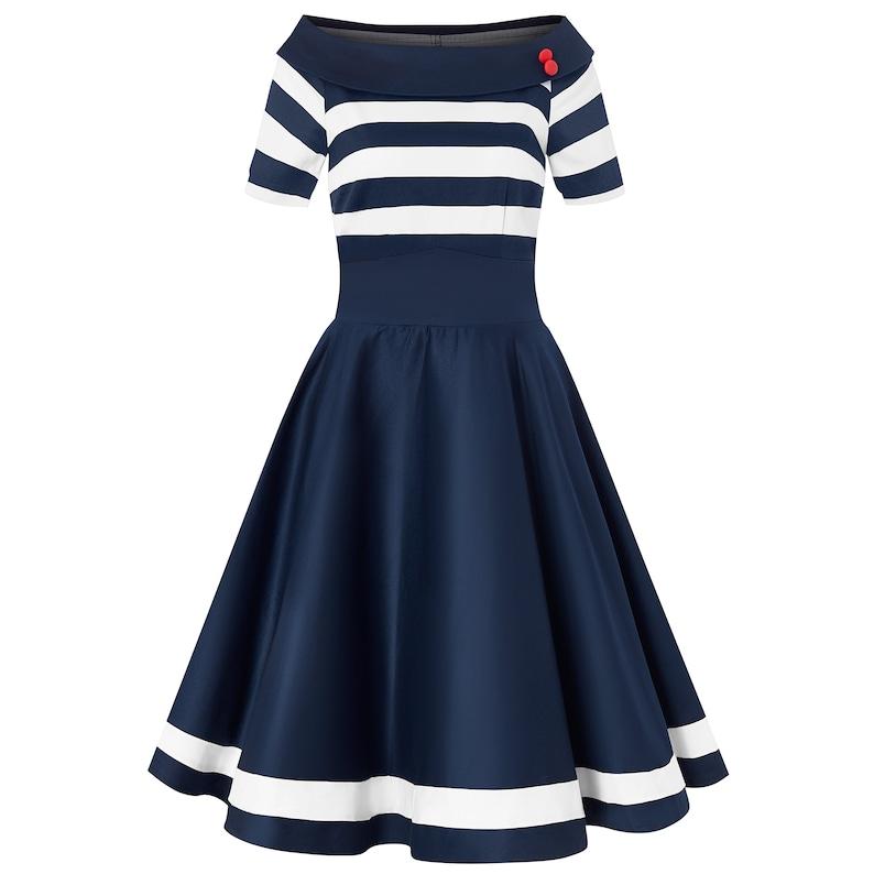 Pin Up Dresses | Pinup Clothing & Fashion Nautical Navy & White Striped Swing Dress $57.95 AT vintagedancer.com