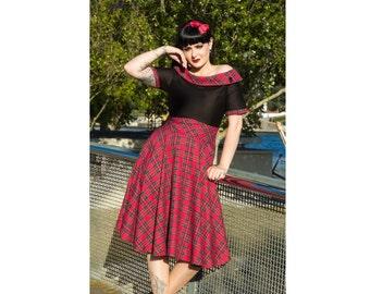 Darlene Red Tartan Swing Dress