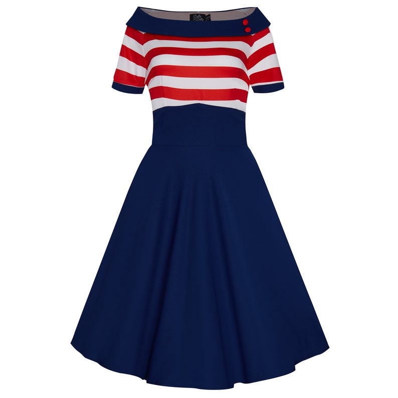 Pin Up Dresses | Pinup Clothing & Fashion Darlene Nautical Swing Dress in Navy with Red & White Stripes $58.08 AT vintagedancer.com