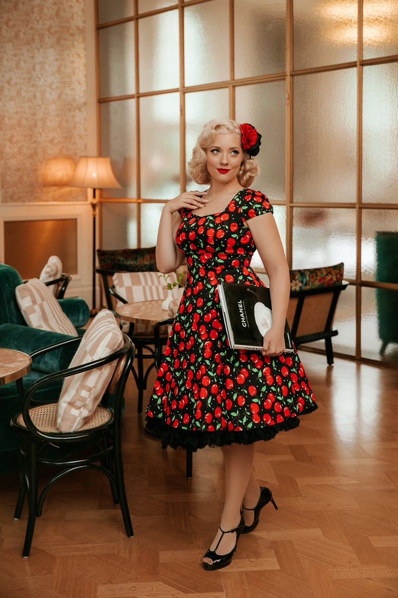 What Did Women Wear in the 1950s? 1950s Fashion Guide Claudia Fifties Style Vintage Inspired Cherry Print Dress $58.08 AT vintagedancer.com